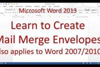 Microsoft Word Mail Merge Envelope Word   Youtube regarding Word 2013 Envelope Template