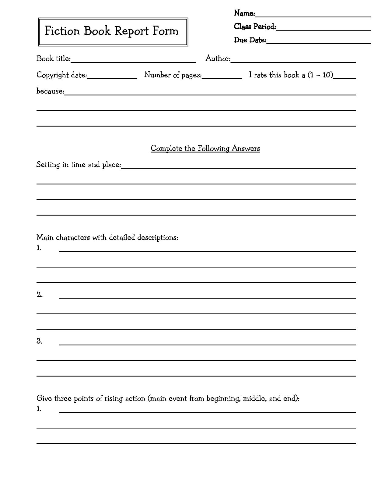 Middle School Book Report Brochure Th Grade  Th Grade  Th With Regard To Book Report Template 6Th Grade