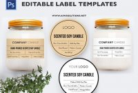 Minimalist Candle Label Black And Gold Label Bottlelabels  Etsy with Templates For Labels For Jars