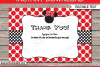 Minnie Mouse Thank You Cards Printable Minnie Mouse Theme  Etsy regarding Minnie Mouse Card Templates