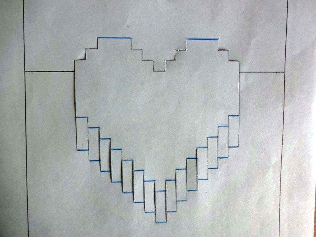 Minute Pop Up Pixelelated Heart Card  Steps Regarding Pixel Heart Pop Up Card Template