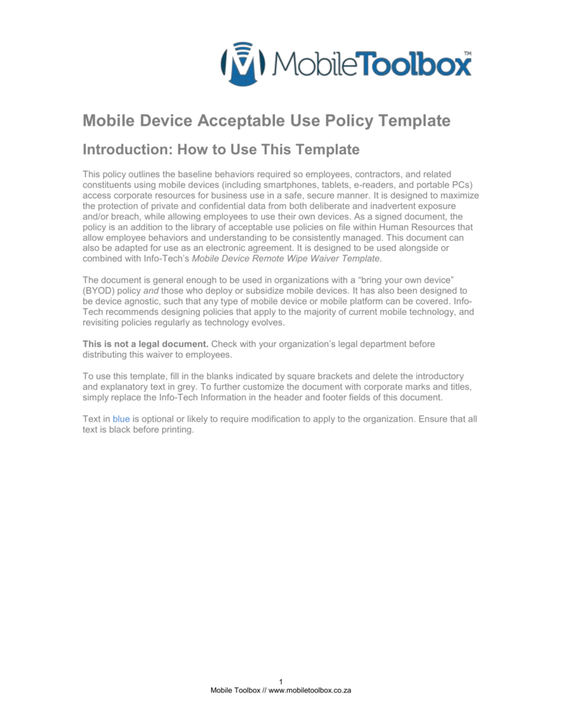 Mobile Device Acceptable Use Policy Template In Mobile Device Acceptable Use Policy Template