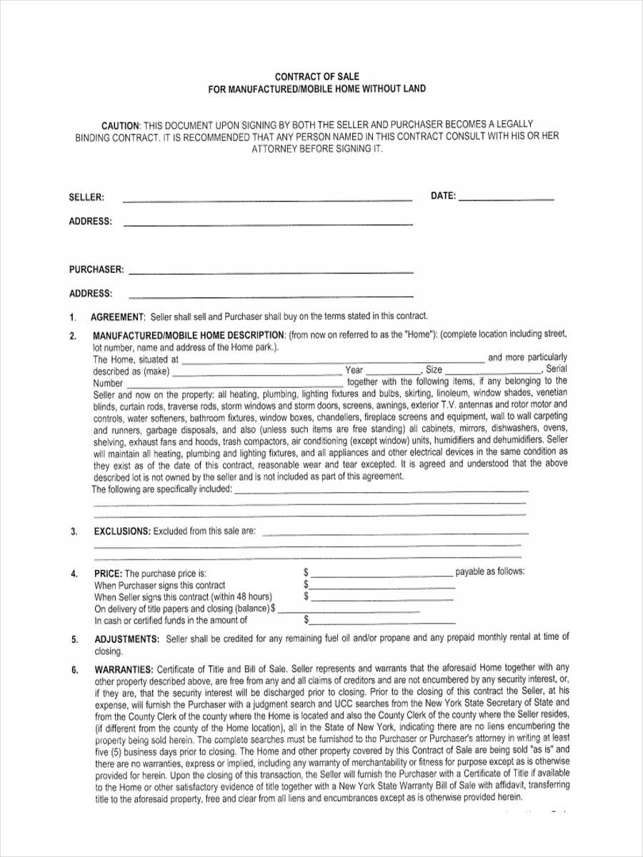 Mobile Home Bill Of Sale Sample  Free Sample Example Format Inside Mobile Home Purchase Agreement Template