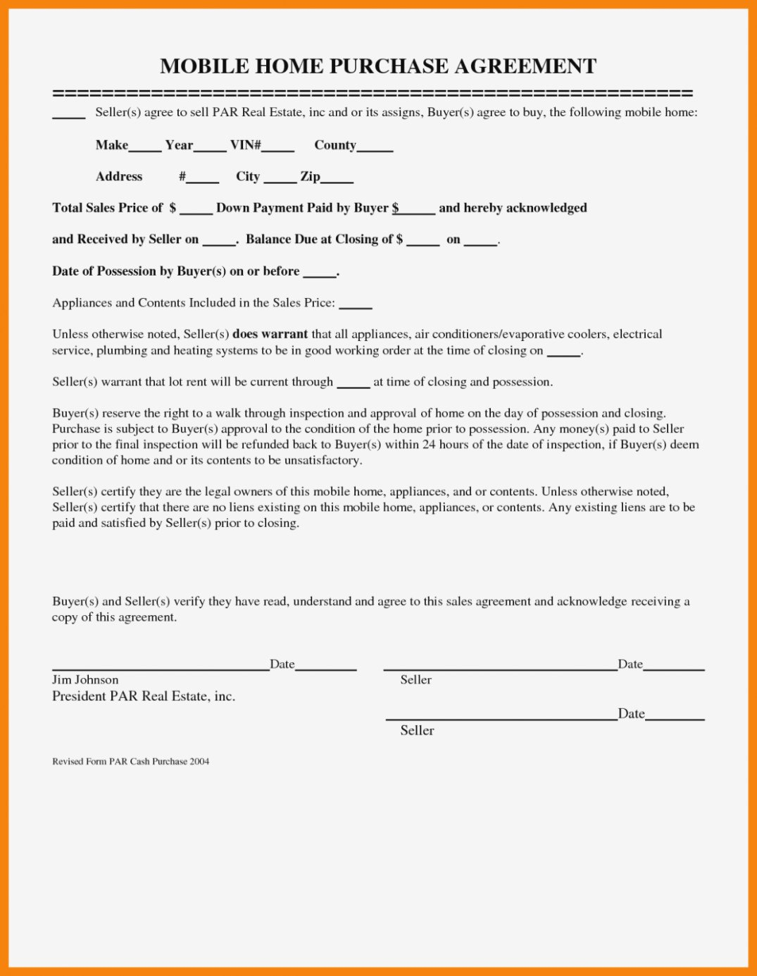 Mobile Home Purchase Agreement  Gtld World Congress – Mobile Home Regarding Mobile Home Purchase Agreement Template