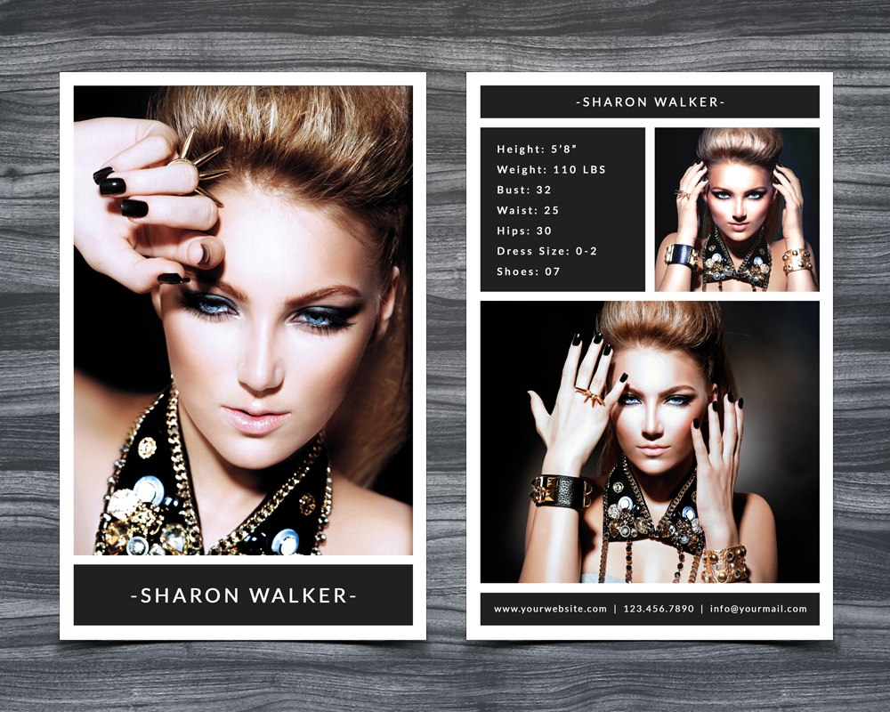 Model Comp Card Template Intended For Free Model Comp Card Template
