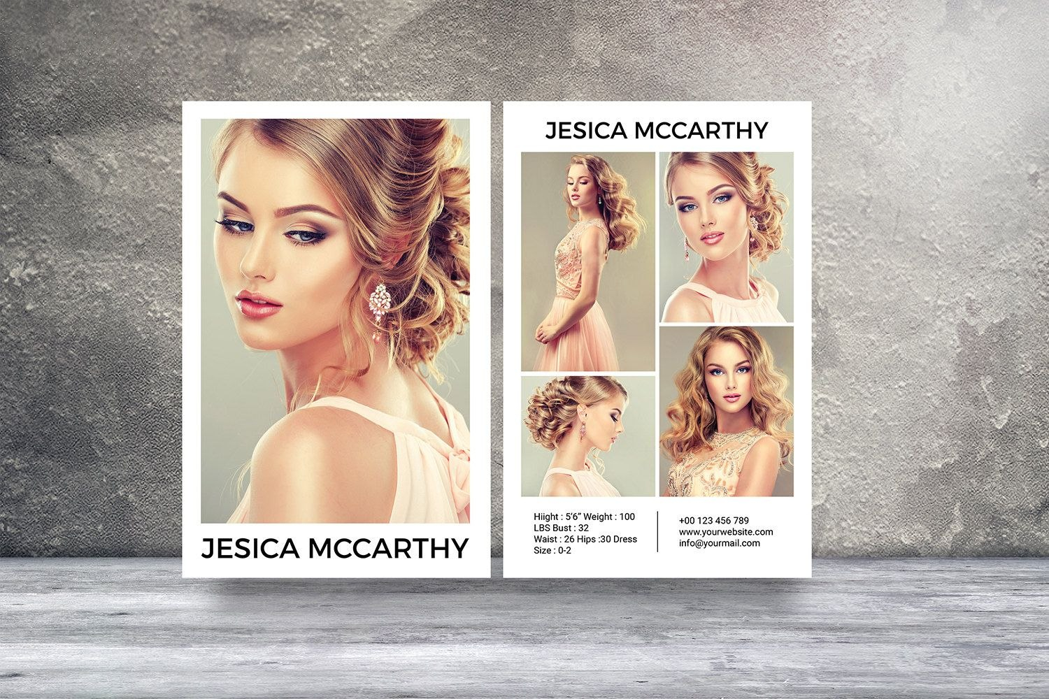 Modeling Comp Card  Fashion Model Comp Card Template  Photoshop Within Download Comp Card Template