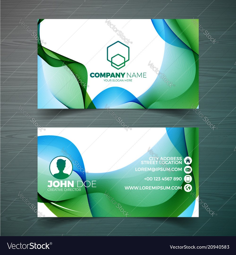 Modern Business Card Design Template With Vector Image Intended For Modern Business Card Design Templates