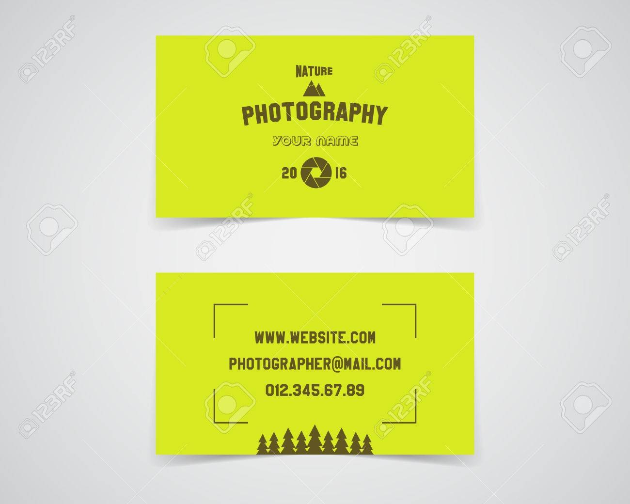 Modern Light Business Card Template For Nature Photography Studio With Photographer Id Card Template