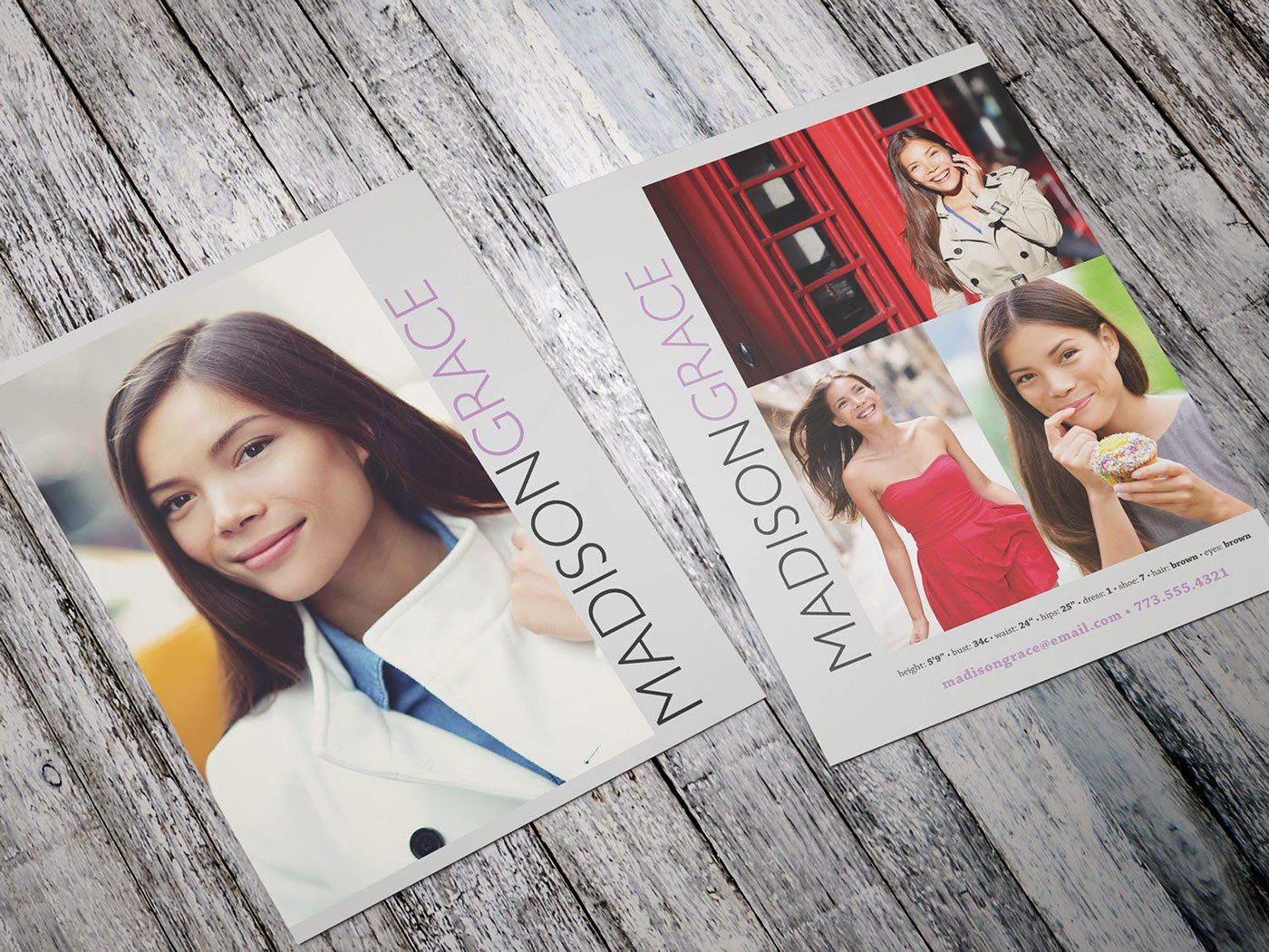 Modern Model Comp Card On Behance With Zed Card Template