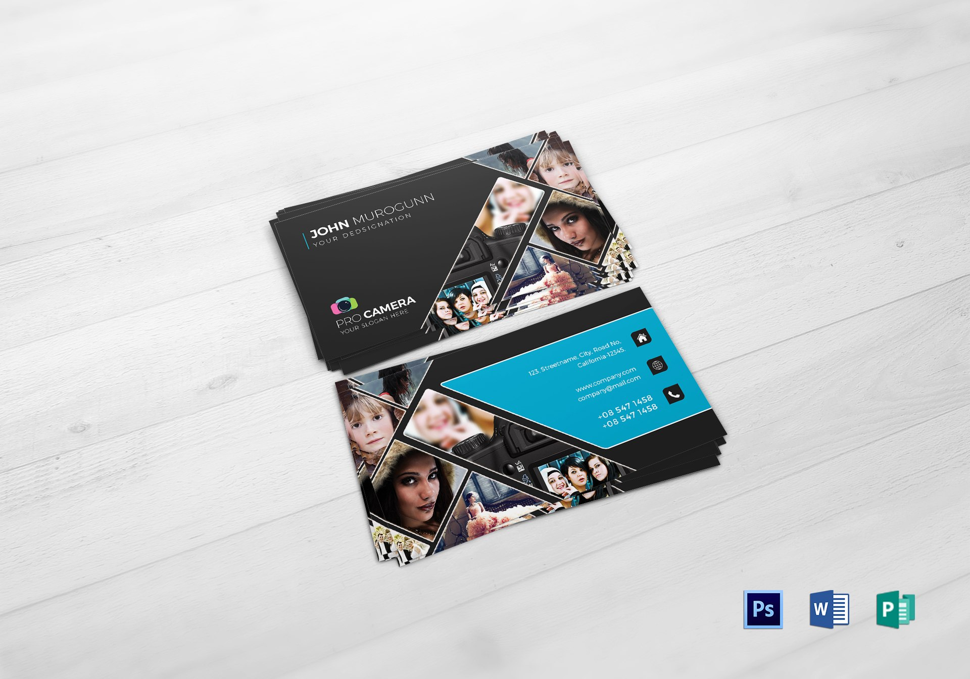 Modern Photography Business Card Design Template In Psd Word Publisher With Photography Business Card Template Photoshop