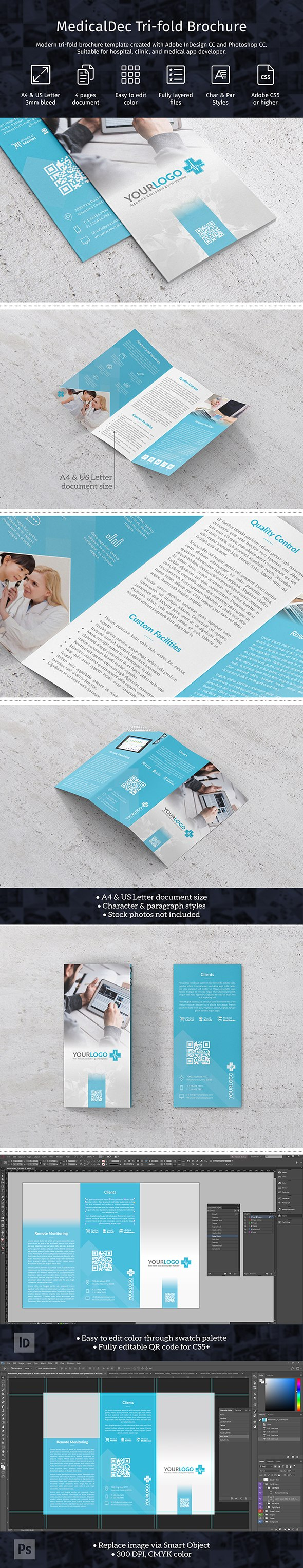 Modern Trifold Brochure Template In A And Us Letter Size Created Inside Adobe Indesign Tri Fold Brochure Template