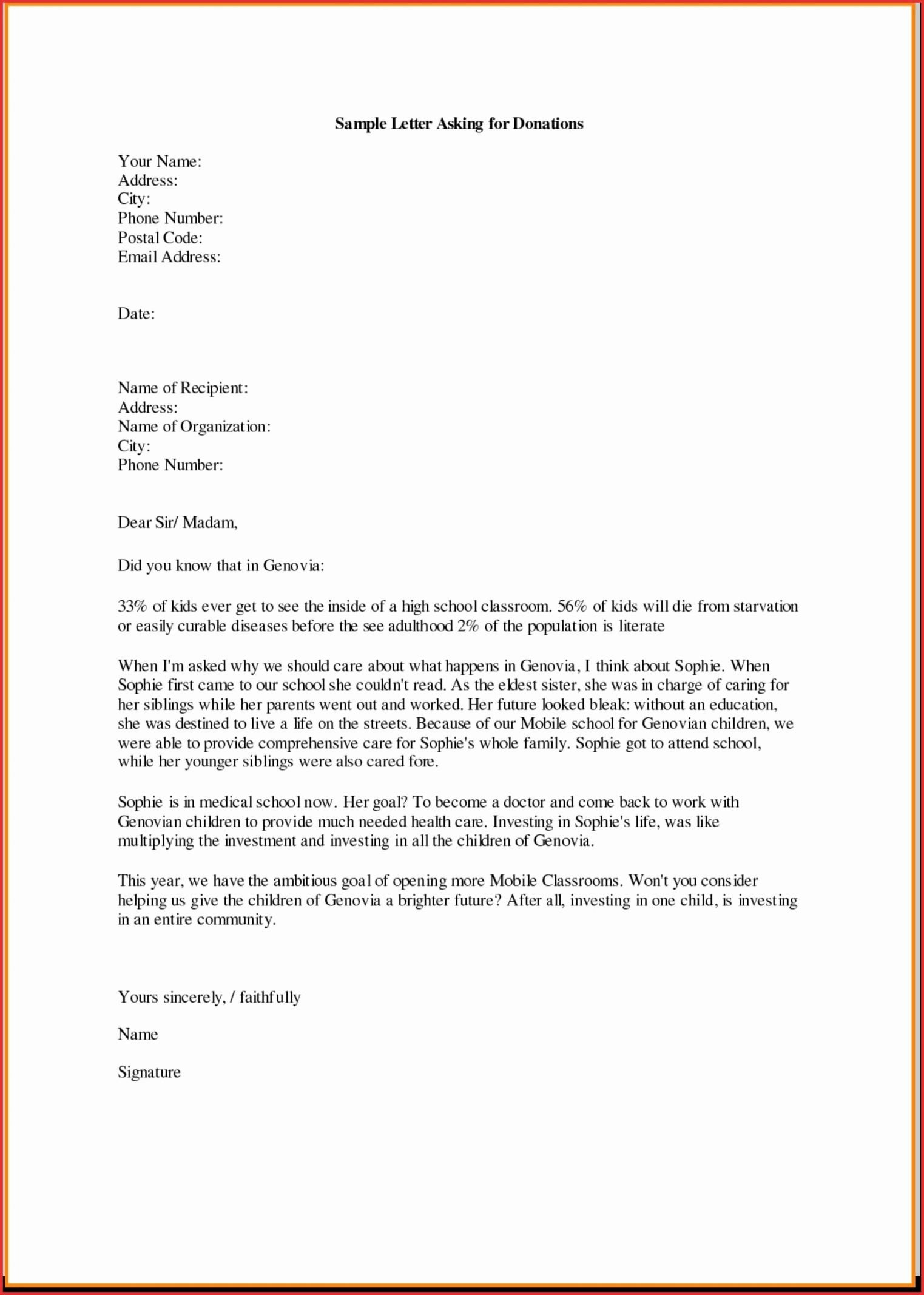 Monetary Donation Letter Template Gallery Inside Business Donation Letter Template