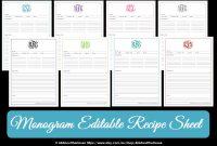 Monogram Recipe Sheet Editable Recipe Card Preppy Template  Etsy for Fillable Recipe Card Template