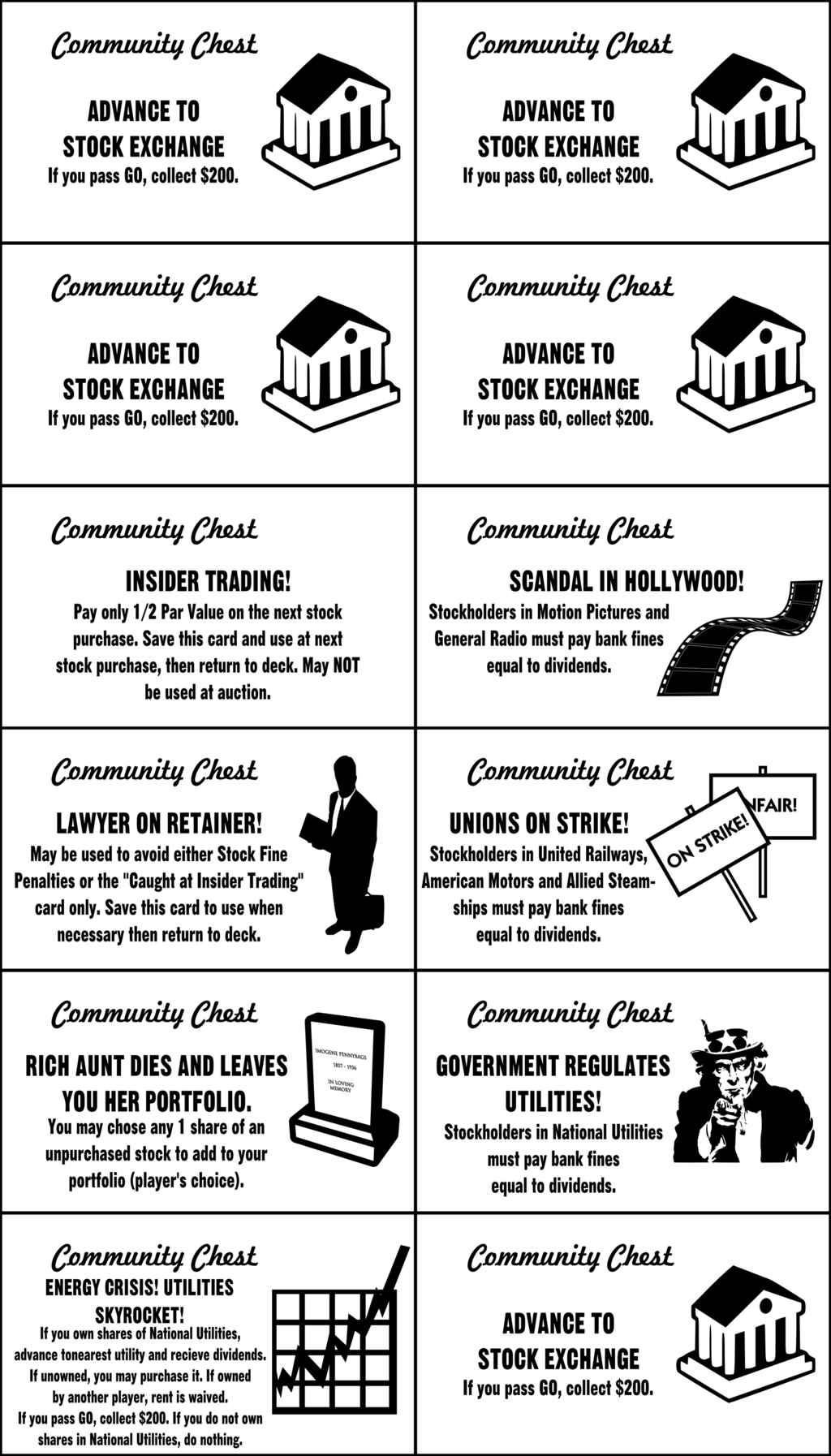 Monopoly Chance Cards Template Business Tools Blog Free Monopoly For Chance Card Template