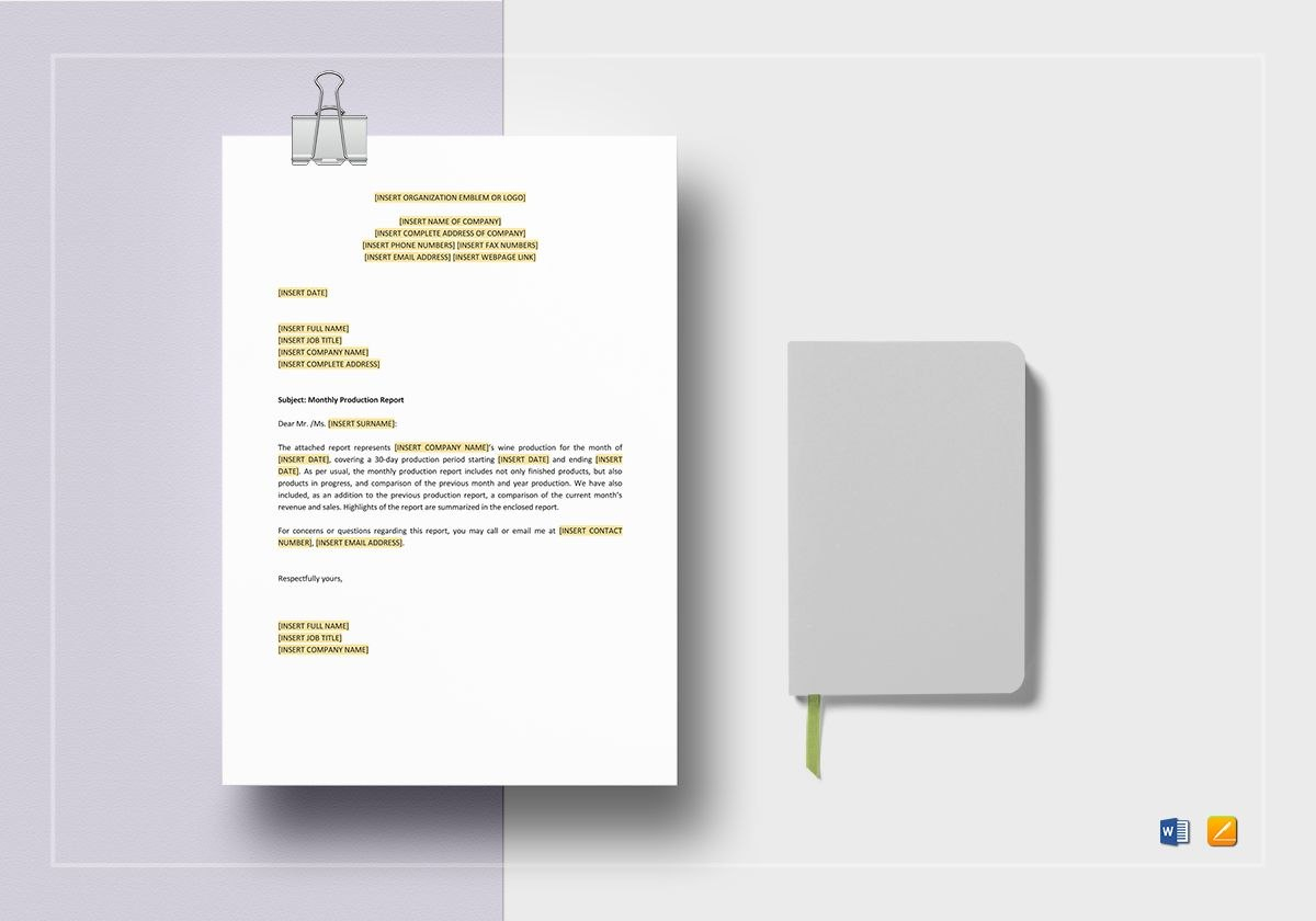 Monthly Production Report Template In Word Apple Pages In Monthly Productivity Report Template