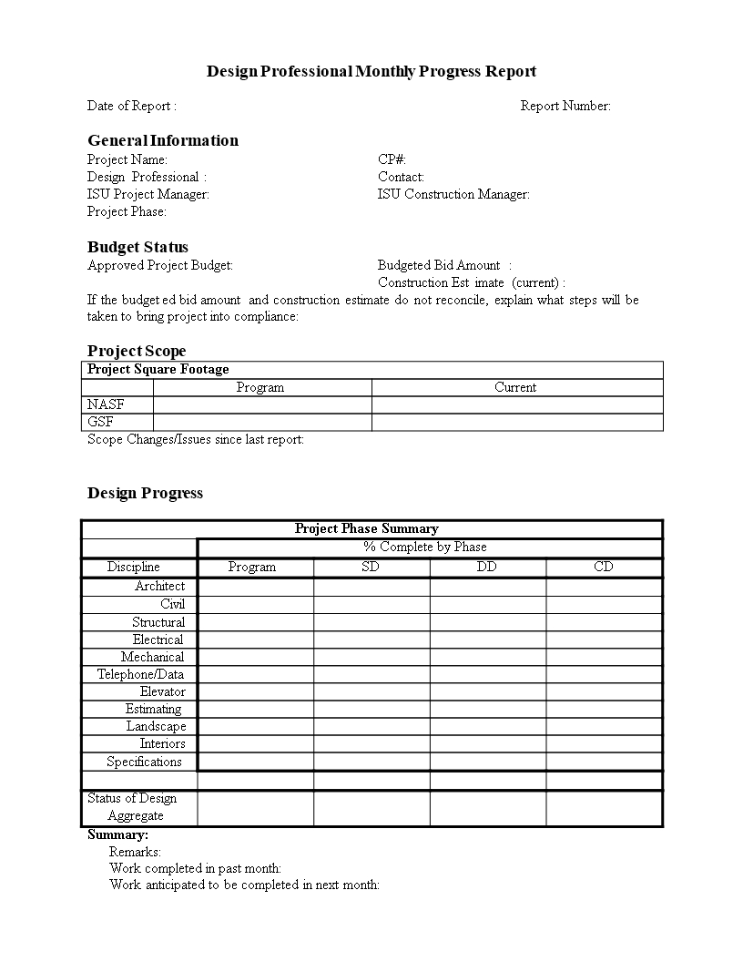 Monthly Progress Report In Word  Templates At Allbusinesstemplates Inside Monthly Progress Report Template