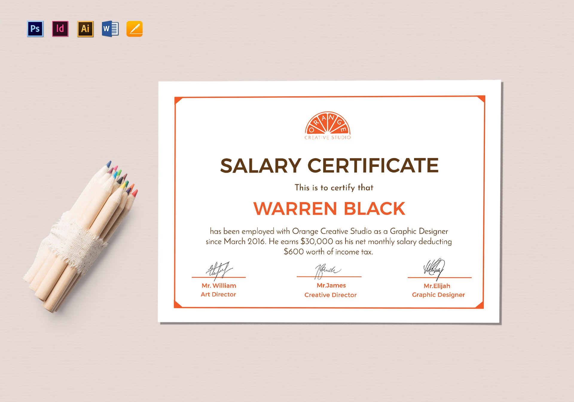 Monthly Salary Certificate Design Template In Psd Word Illustrator Inside Certificate Template For Pages