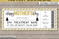 Mothers Day Spa Gift Certificate Template  Facial Or Massage Gift in Spa Day Gift Certificate Template