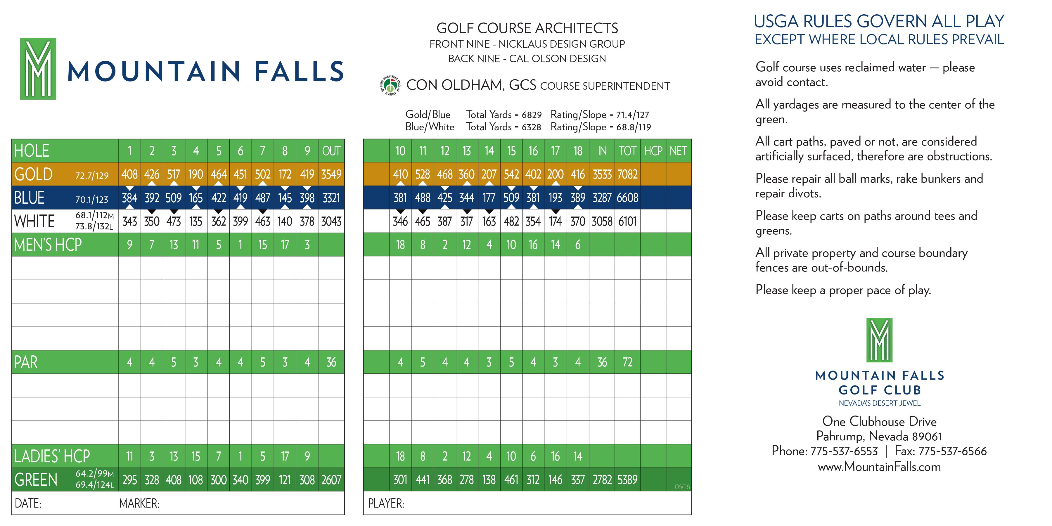 Mountain Falls Scorecard  Elite Golf Management Intended For Golf Score Cards Template