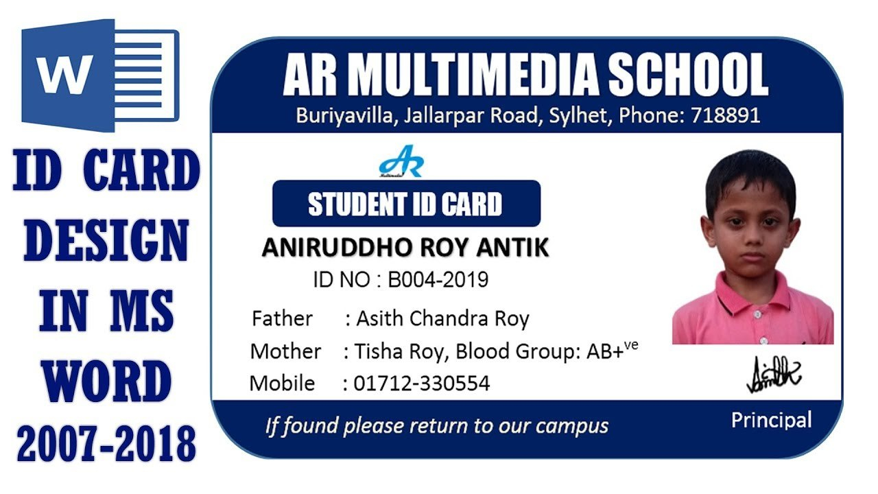 Ms Word Tutorial How To Make Easy Student Id Card Design In Ms Word Within Free Id Card Template Word