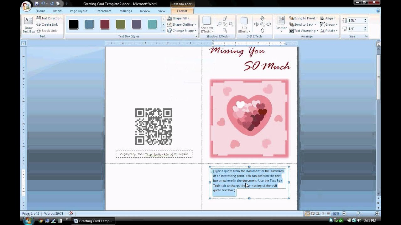 Ms Word Tutorial Part   Greeting Card Template Inserting And Regarding Microsoft Word Birthday Card Template