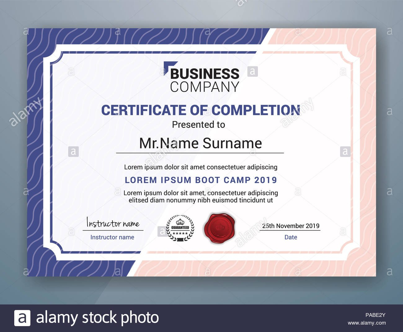 Multipurpose Professional Certificate Template Design For Print With Boot Camp Certificate Template