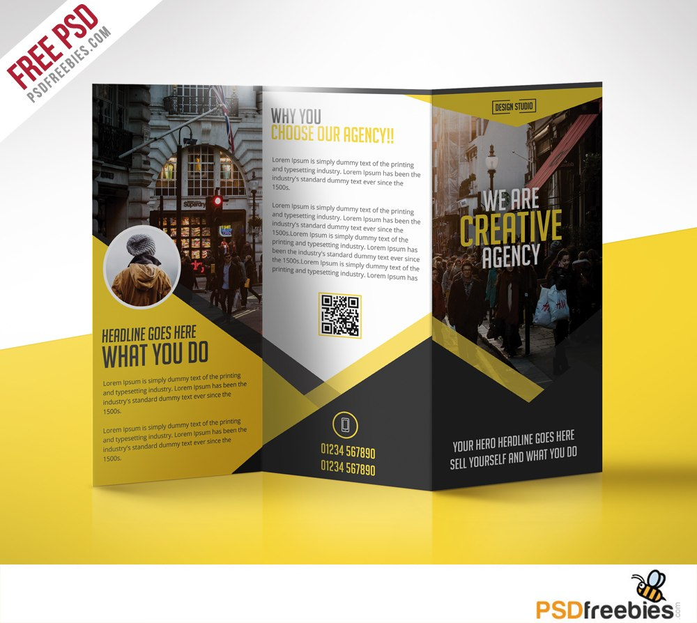 Multipurpose Trifold Business Brochure Free Psd Template Inside 2 Fold Brochure Template Psd