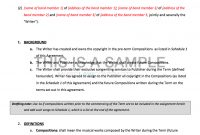 Music Publishing Contract Template for Songwriter Agreement Template