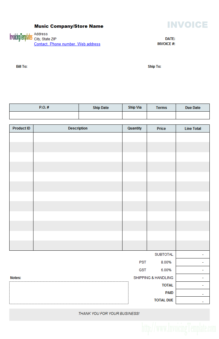 Music Store Invoicing Form Retail    Invoice Template Word In Invoice Checklist Template