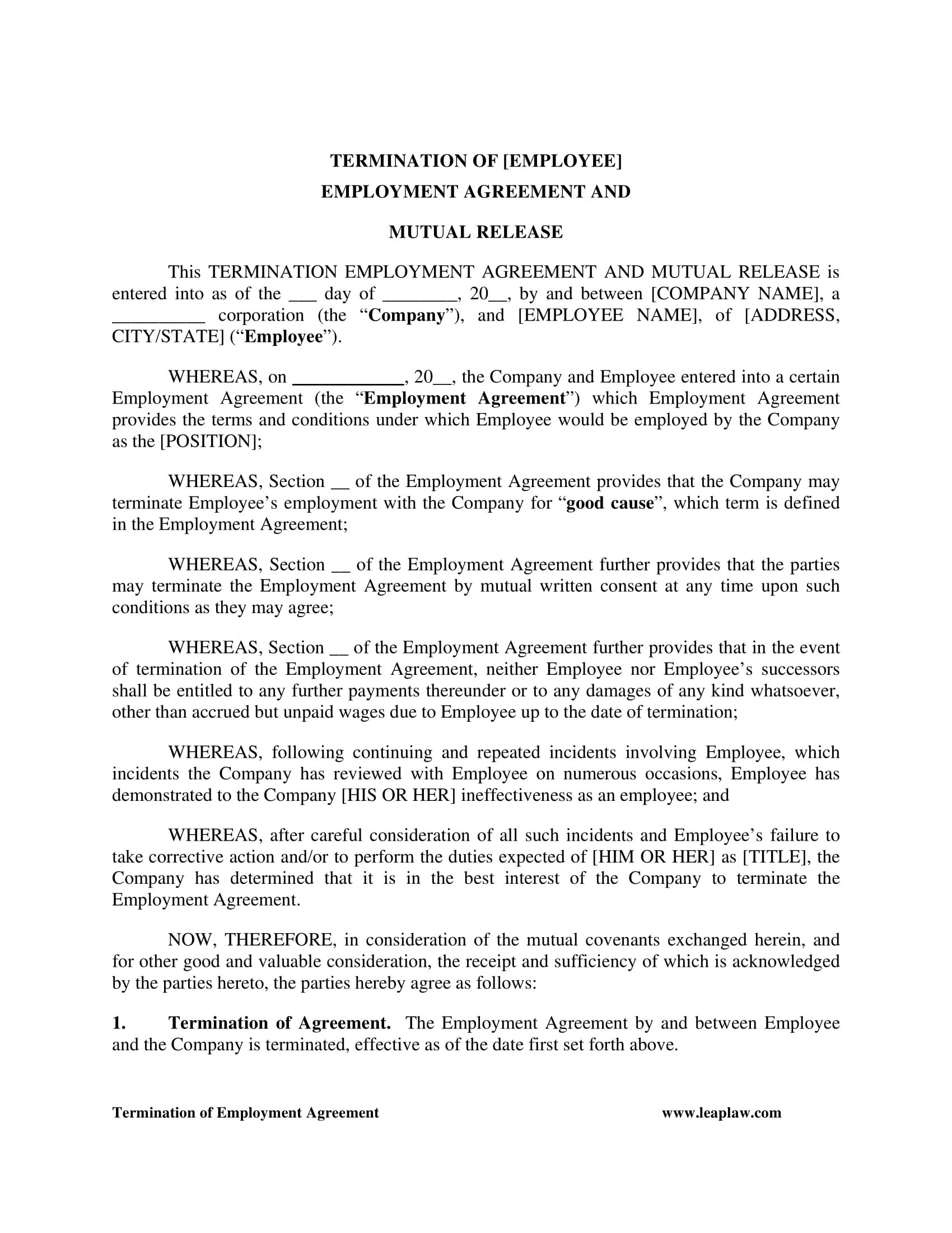 Mutual Release Agreement Contract Forms  Pdf Doc With Mutual Agreement To Terminate Contract Template
