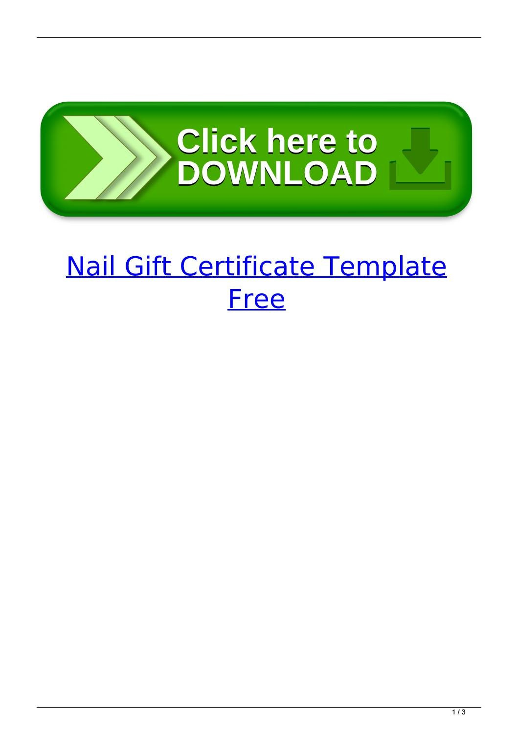 Nail Gift Certificate Template Freesubsconteasig  Issuu Regarding Nail Gift Certificate Template Free