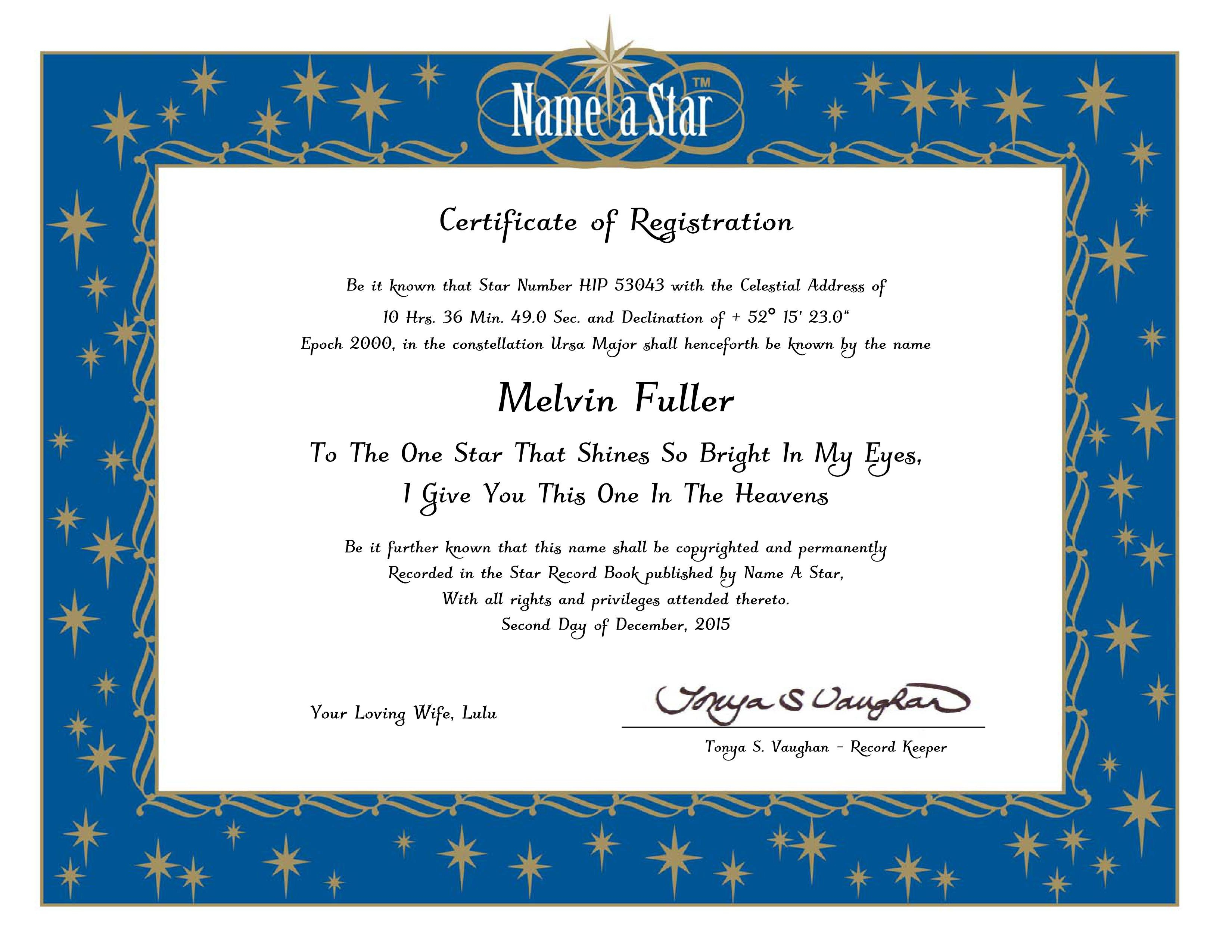 Name A Star Instant Certificate  Buy And Name A Star  Name A Star With Star Naming Certificate Template