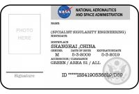 Nasa Id Card Badge National Aeronautics Space Administration  St within Spy Id Card Template