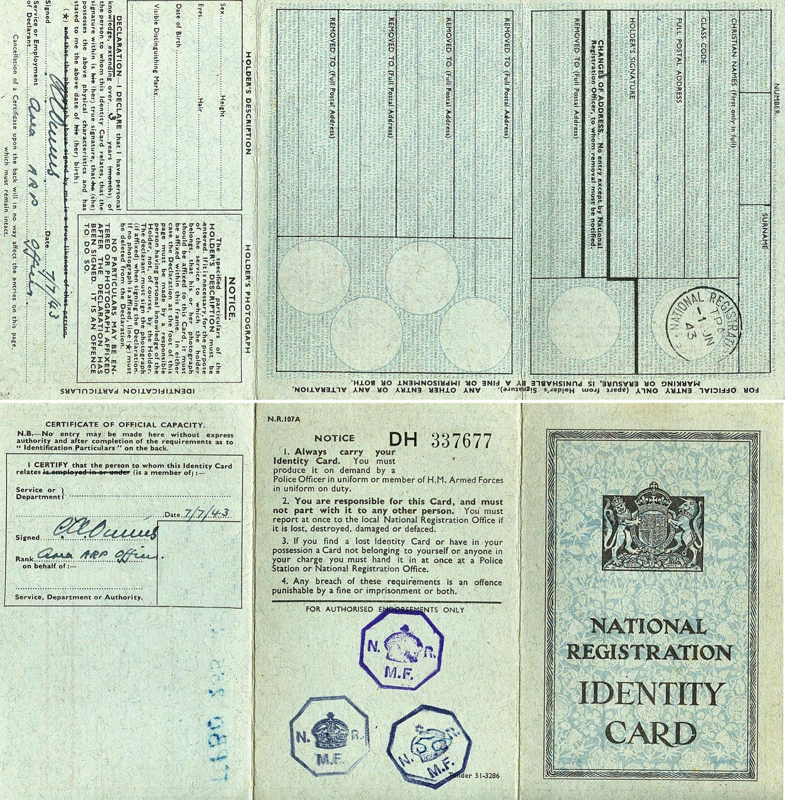 National Registration Identity Card Template   Images Throughout World War 2 Identity Card Template
