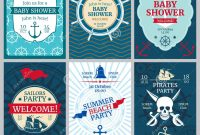 Nautical Baby Shower Birthday Beach Party Vector Invitation Cards inside Nautical Banner Template