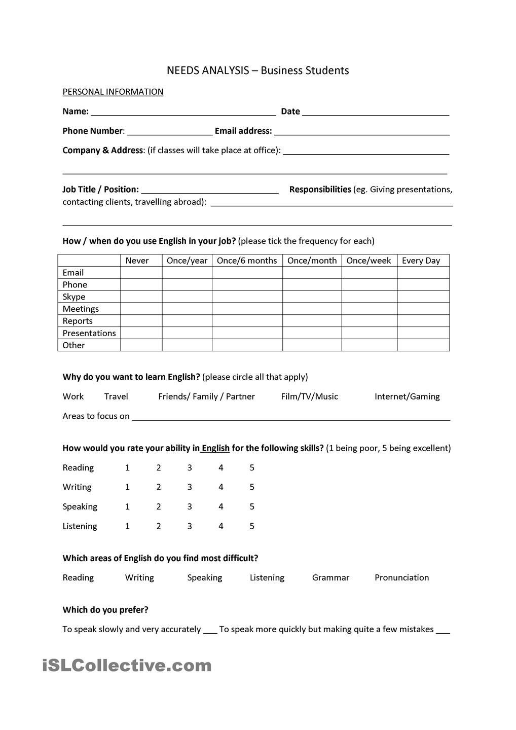 Needs Analysis Template  Business Students  Esl Worksheets Of The Inside Training Needs Analysis Report Template