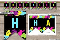 Neon Glow Party Pennant Banner Template  Happy Birthday Banner with Free Happy Birthday Banner Templates Download