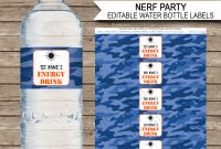 Nerf Party Water Bottle Labels Template – Blue Camo  Birthday intended for Diy Water Bottle Label Template