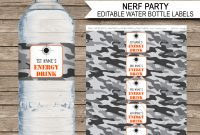 Nerf Party Water Bottle Labels Template  Editable  Printable throughout Drink Bottle Label Template