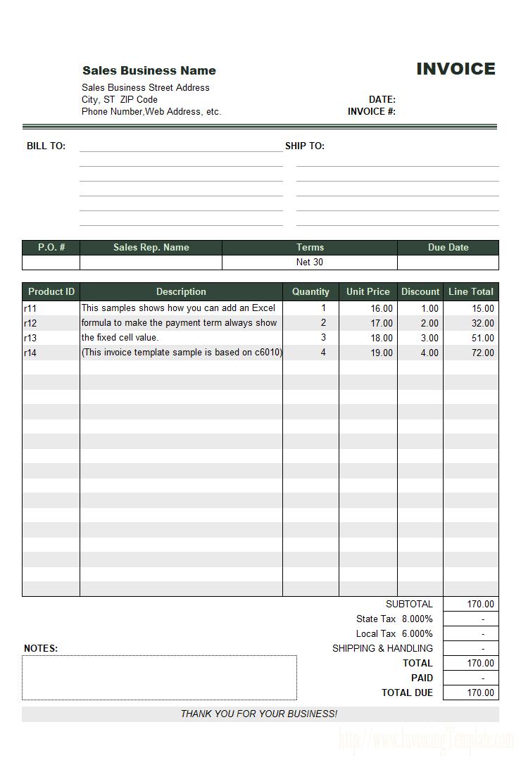 Net  Invoice Sample Inside Net 30 Invoice Template