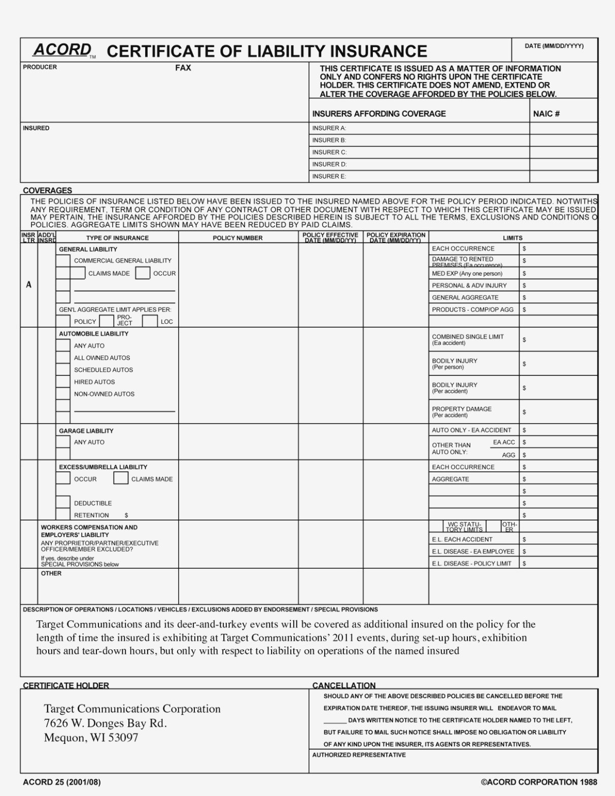 New Certificate Of Liability Insurance Form Template – Document Regarding Certificate Of Liability Insurance Template