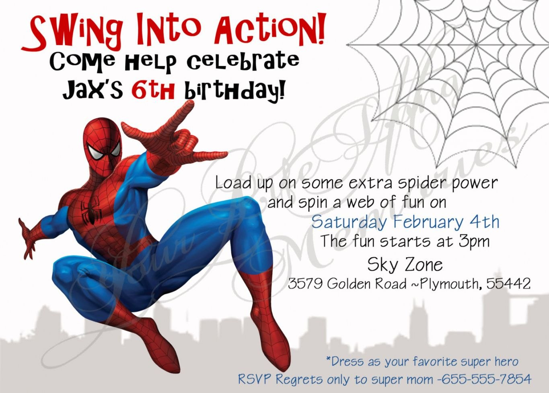 New Spiderman Birthday Invitation Card Template K  Invitations Pertaining To Superhero Birthday Card Template