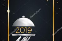 New Year Eve Dinner Template Poster Cover Menu Vector — Stock intended for New Years Eve Menu Template