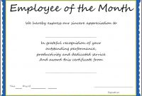 Newfreeemployeemonthawardtemplatecertificatepdfdoc pertaining to Certificate Of Participation Template Doc