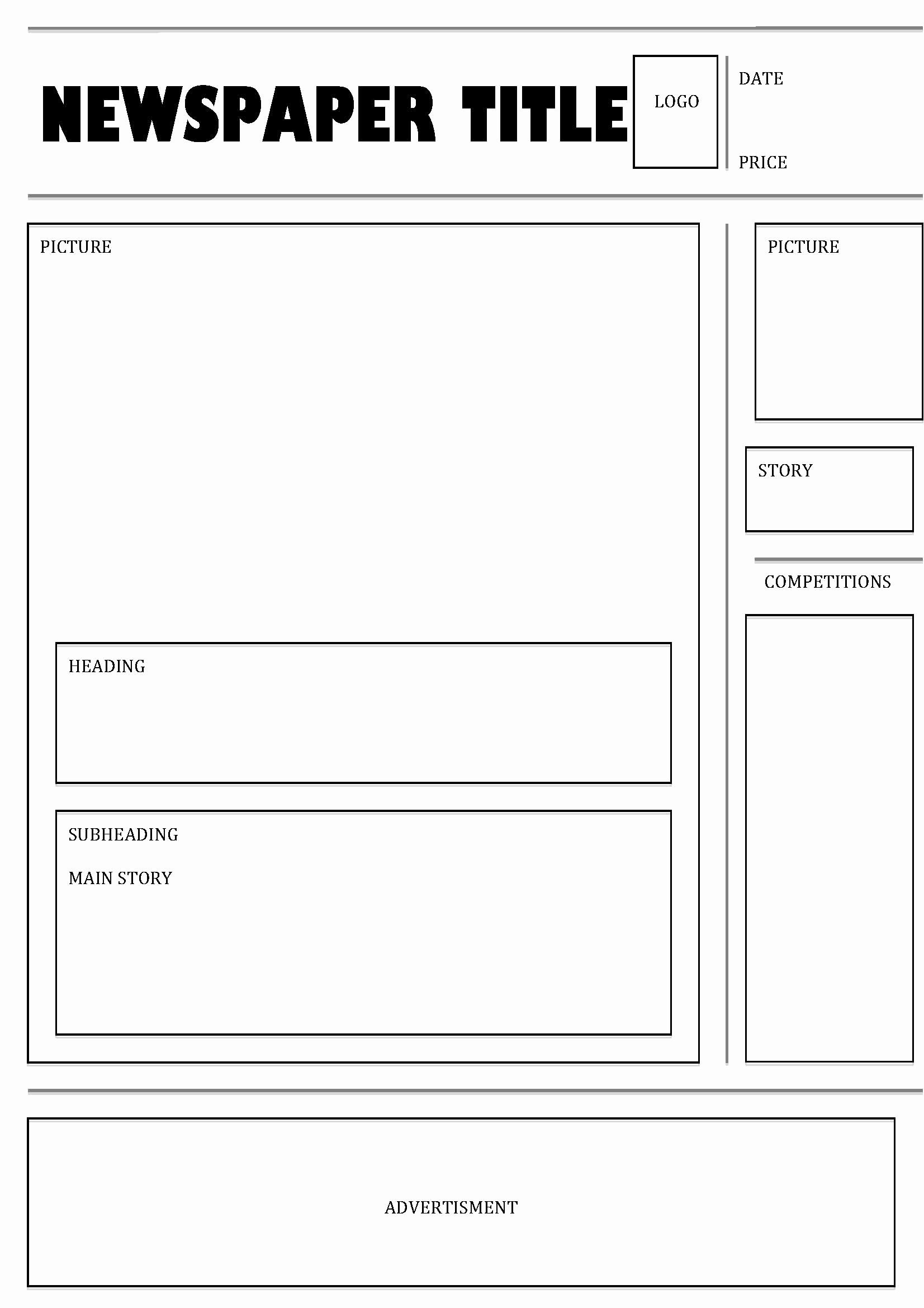 Newspaper Template Microsoft Word Blank Unique Free For Students Pertaining To Blank Newspaper Template For Word
