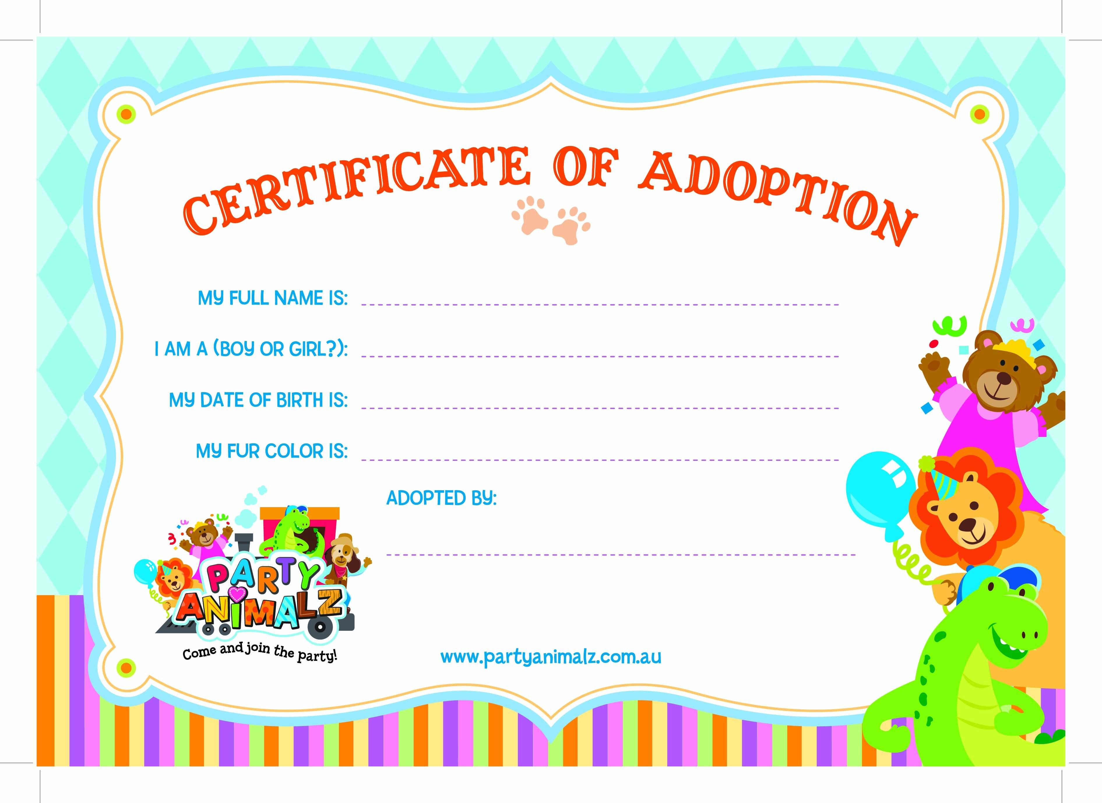 Nice Adoption Certificate Templates Photo Resume Ideas Cat Adoption Inside Toy Adoption Certificate Template