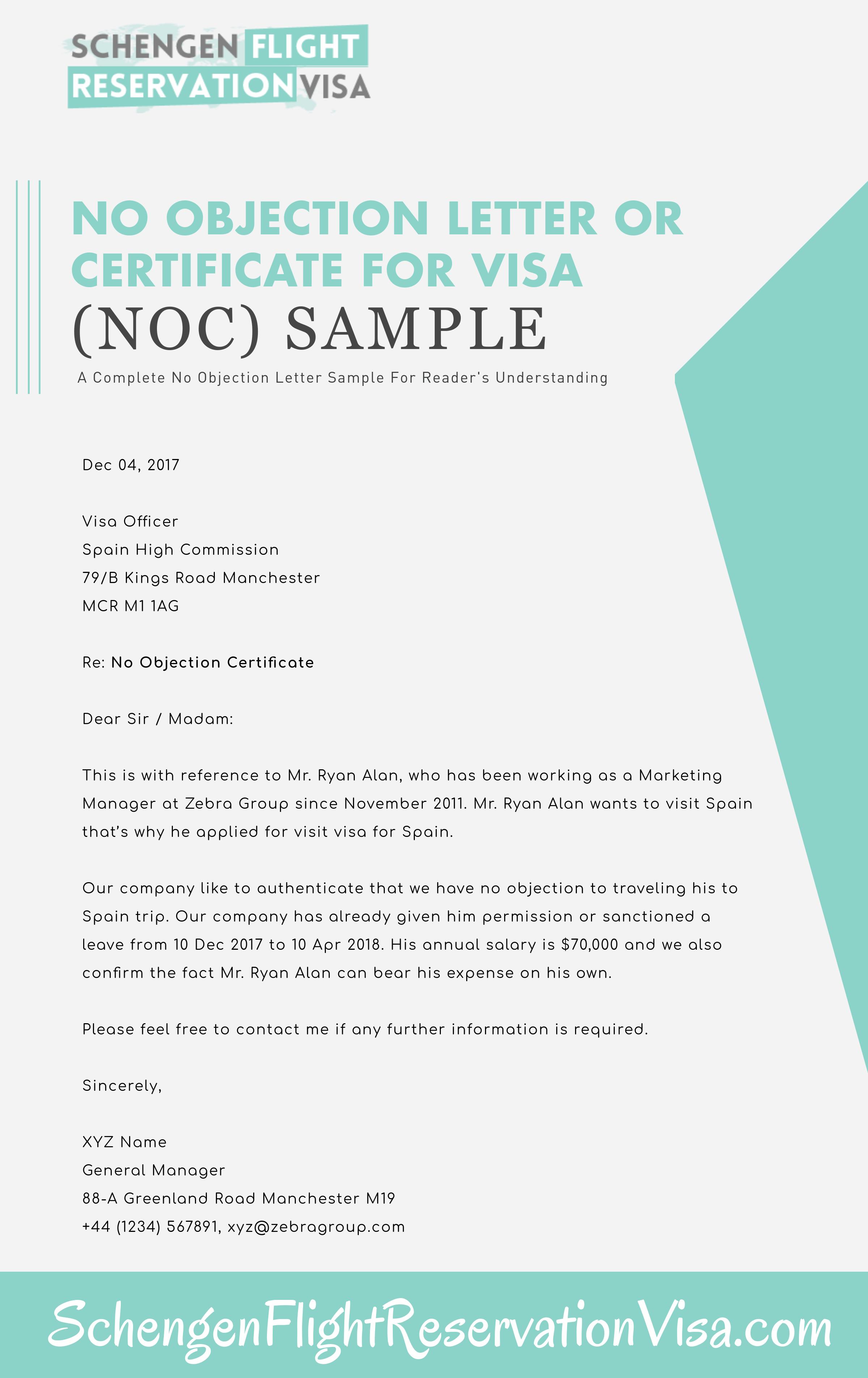 No Objection Letter For Visa Application Sample  Schengen Visa In Regarding Noc Report Template