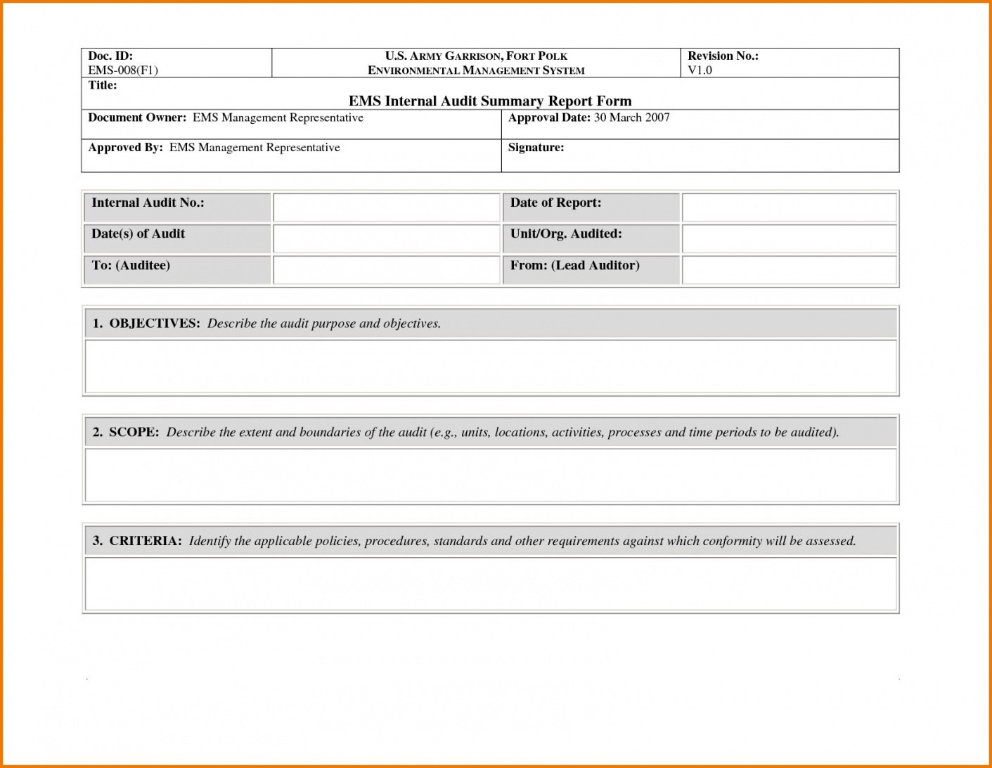 Non Conformance Report Form  Sansurabionetassociats In Dsmb Report Template