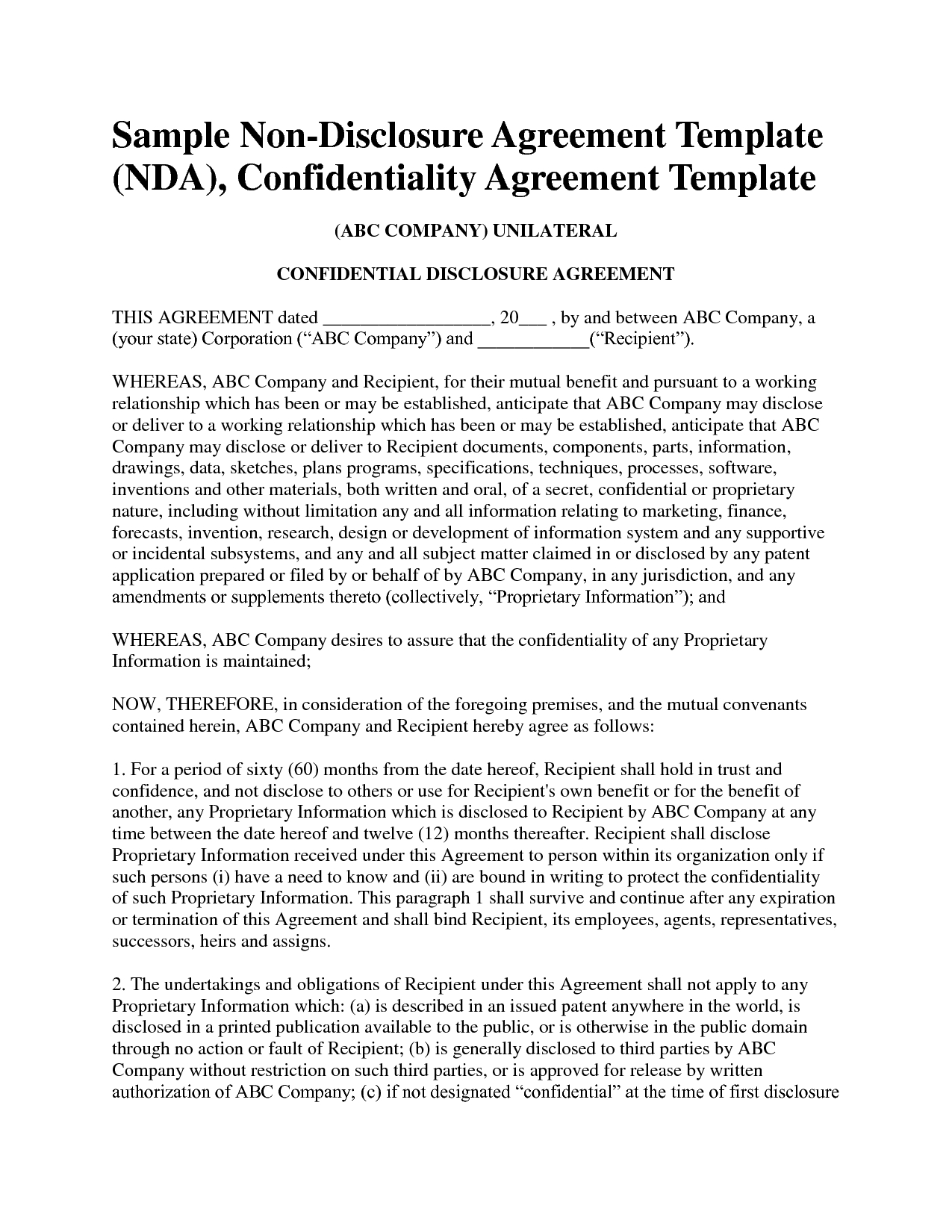 Non Disclosure Agreement Template Free Sample Nda Template Mvrsqrn Throughout Film Non Disclosure Agreement Template