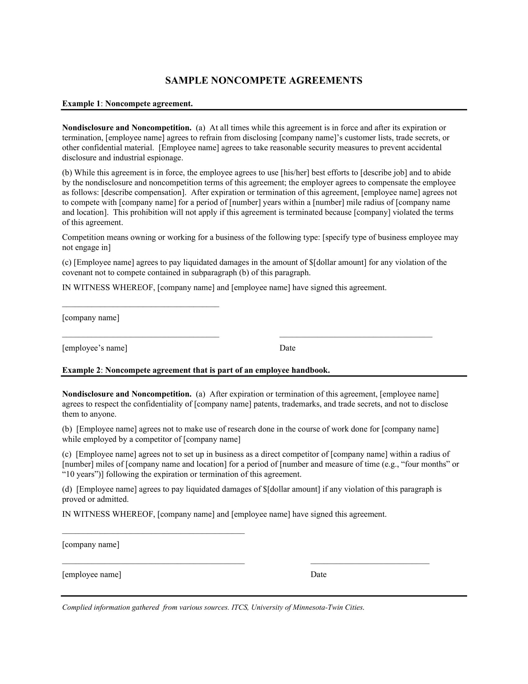 Noncompete Agreement Examples  Pdf Word  Examples Intended For Standard Non Compete Agreement Template